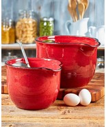 Mixing Pouring Bowls Batter Bowl Handle Spout Kitchen Cookware Stoneware... - $43.49