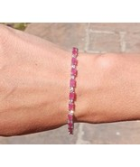 Ruby & White Sapphire Bracelet Set 925 Sterling Silver Bangle Jewellery RRP £940 - $517.00