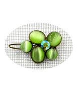 Gorgeous retro bronze green floral Peridot Swarovski crystal hair clip - $18.00
