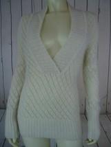 Ann Taylor Loft Sweater Xs Beige See-Thru Nylon Wool Mohair Sparkle Crocket Boho - $48.51