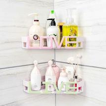Corner Storage Wall Mounted Plastic Suction Bathroom Shelf Storage Basket Holder image 5