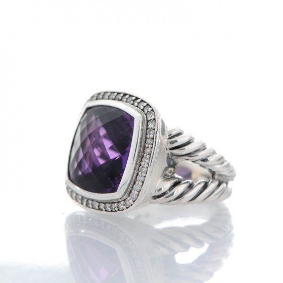 David Yurman Albion Ring with Amethyst and Diamonds, 14mm