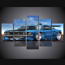 5 Pcs Eleanor Mustang Muskul Car Home Decor Wall Picture Printed Canvas ... - $45.99+