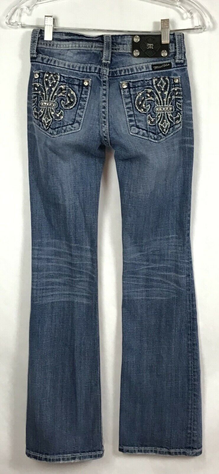 Miss Me Jeans Girls Size 14 Jeans Fleur De Lis BLING Bootcut Distressed B6-9 image 4