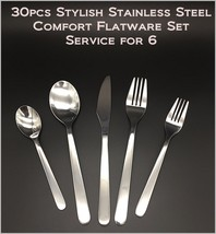 30pcs - New Modern, Stylish & Classic Stainless Steel Flatware Set for 6 - $38.72