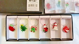 Glass wine charms christmas ornament wine glass Charms Rings Table Decor... - $6.95