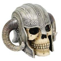 PTC 5 Inch Celtic Helmet Warrior Skeleton Skull Resin Statue Figurine - $18.99
