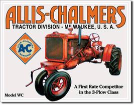 Allis Chalmers Model WC 3-Plow Class Farming Tractor Farm Equipment Metal Sign - $19.95