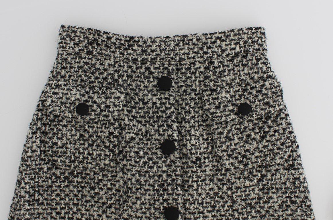 Dolce & Gabbana Gray Cashmere Bubble Above Knee Skirt