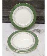 """Set of 2  Royal Worcester Regency Green 8"""" Salad Plates Gold Trim - $19.80"""