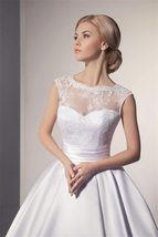 Sexy Illusion Backless Romantic Lace Ivory White Ball Gown Wedding Dress image 4