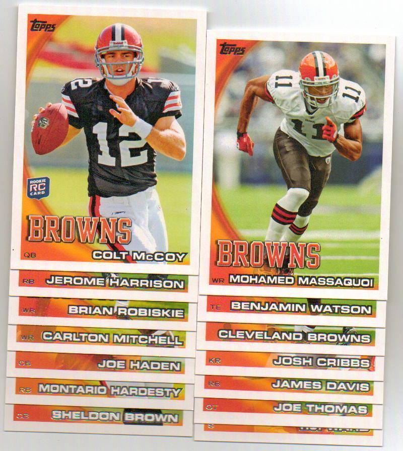2010 Topps Cleveland Browns Football Set