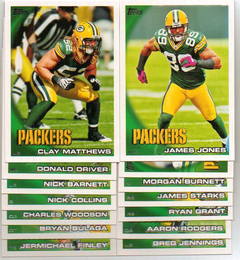 2010 Topps Green Bay Packers Football Set