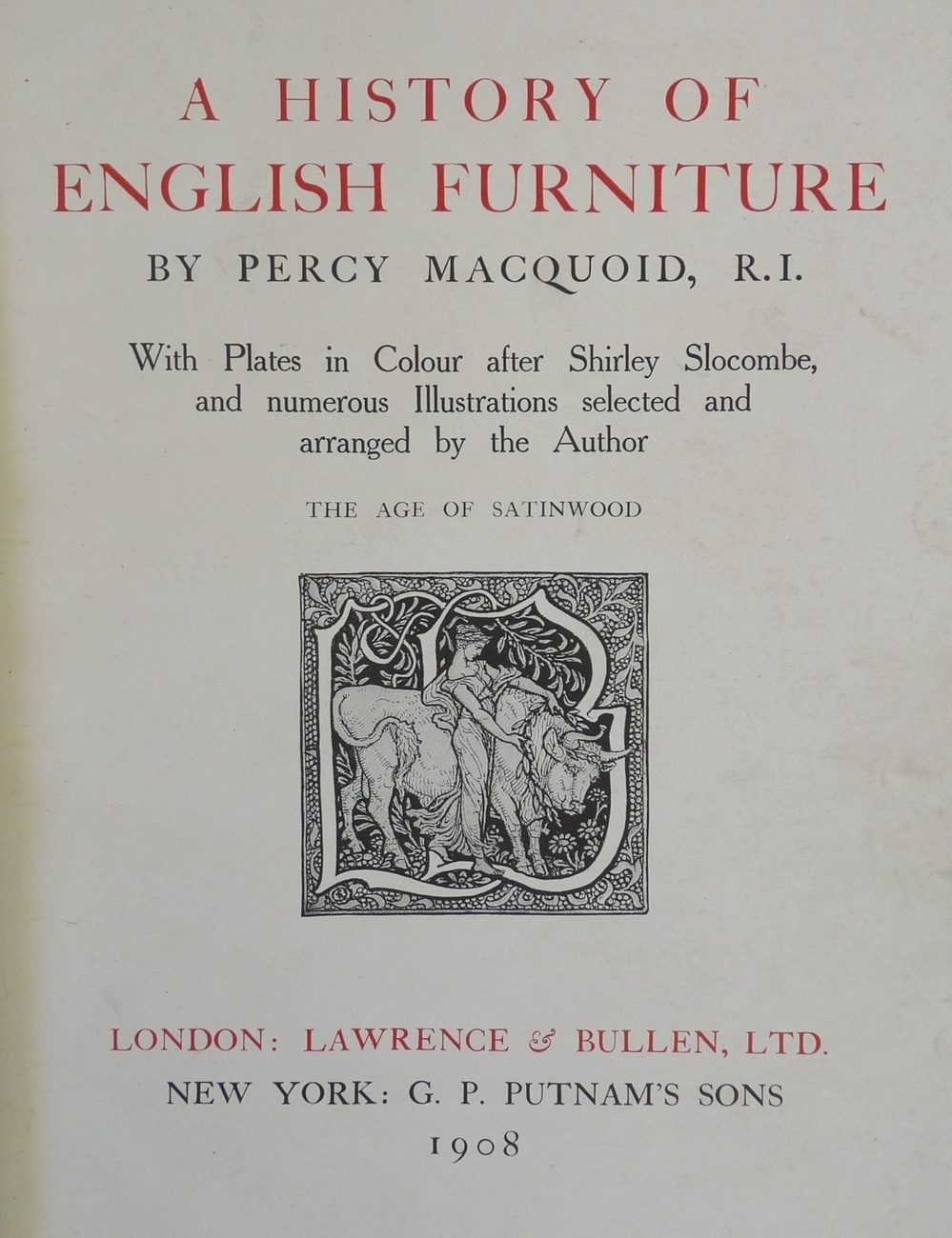 History English Furniture Age Satinwood 1908 Macquoid book c