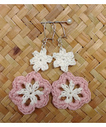 Crochet Flower Earrings / Crochet Flower Drops / Handmade Earrings - $11.00