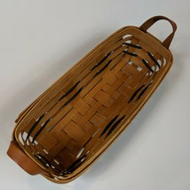 Longaberger Cracker Basket with Leather Handles and blue accent bands 1993 - $11.99