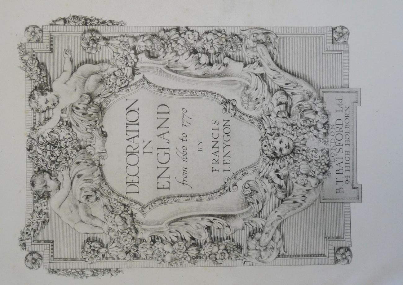 Decoration England 1660 - 1779 book Lendygon 1920