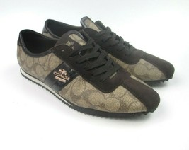 Coach Ivy Logo Pebbled Fashion Sneaker Shoes Brown Size 8B New York - $46.31