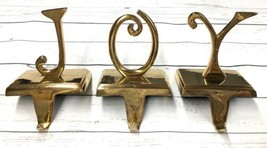 Set 3 Vtg Soild Brass Joy Farmhouse Stocking Holder Xmas Mantle J-O-Y Le... - $80.75