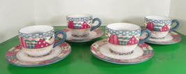 Home Interiors HEARTWARMING HOLIDAY Flat Cup and Saucer Set (s) LOT OF 4... - $29.65