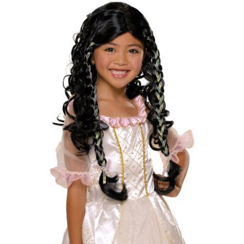 Fairy Tale Princess Child Costume Wig Dark Hair NEW