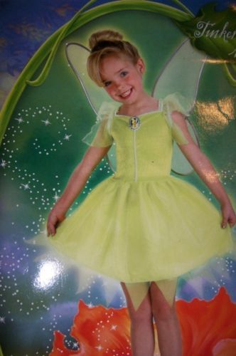 Tinker Bell Fairies Costume 3-4T + Treat Pail NEW
