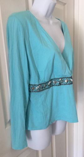 NEW YORK & CO Blue Womens Large 3/4 Sleeve V Neck Faux Wrap Shirt Blouse Sequins