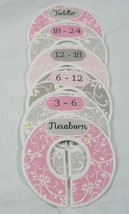 Baby Closet Dividers Pink Gray, Girl, Set of 6 Size Organizers, Floral  - $12.50