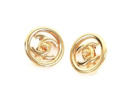 Authentic CHANEL Vintage Gold Logo Clip Earrings Coco HCE151 - $430.35