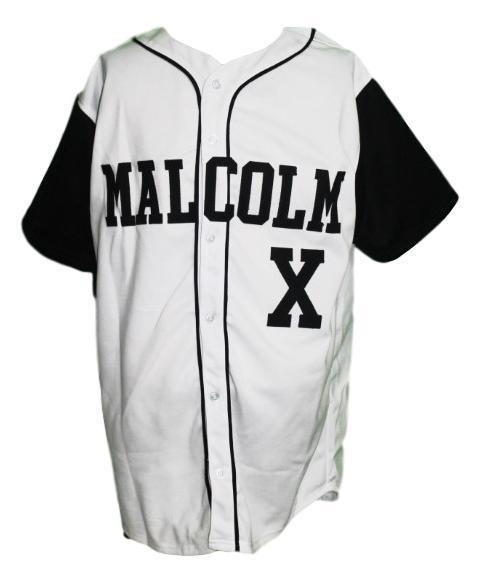 Malcolm x baseball button down jersey white black   1