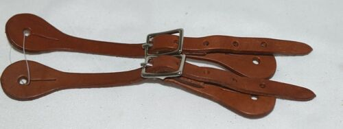 Unbranded Brown Youth Leather Spur Straps Adjustable Silver Color Buckles