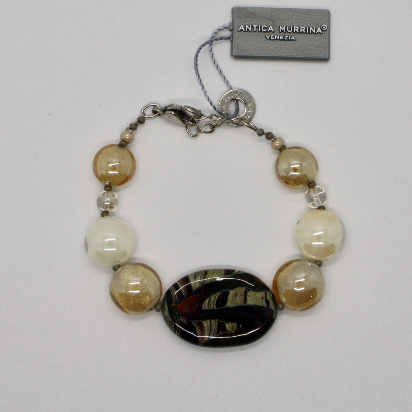ANTICA MURRINA VENEZIA BRACELET WITH MURANO GLASS BROWN BEIGE GOLD BR794A10