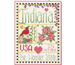 Indiana Little State Sampler cross stitch chart Alma Lynne Originals - $6.50