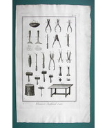 1763 DIDEROT PRINT - Flower Maker's Tools Scissors Dividers Knives Cutte... - $13.77
