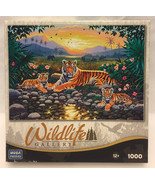 Mega Wildlife Gallery puzzle Resting by the Pool 1000 piece NEW tigers e... - $5.00