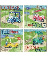 Golf Coasters New Set of 4 CoasterStone Golfing Tee Time 19th Hole - $25.21