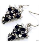Black Clear Swarovski Crystal dangle grape earrings EA66 - $12.99