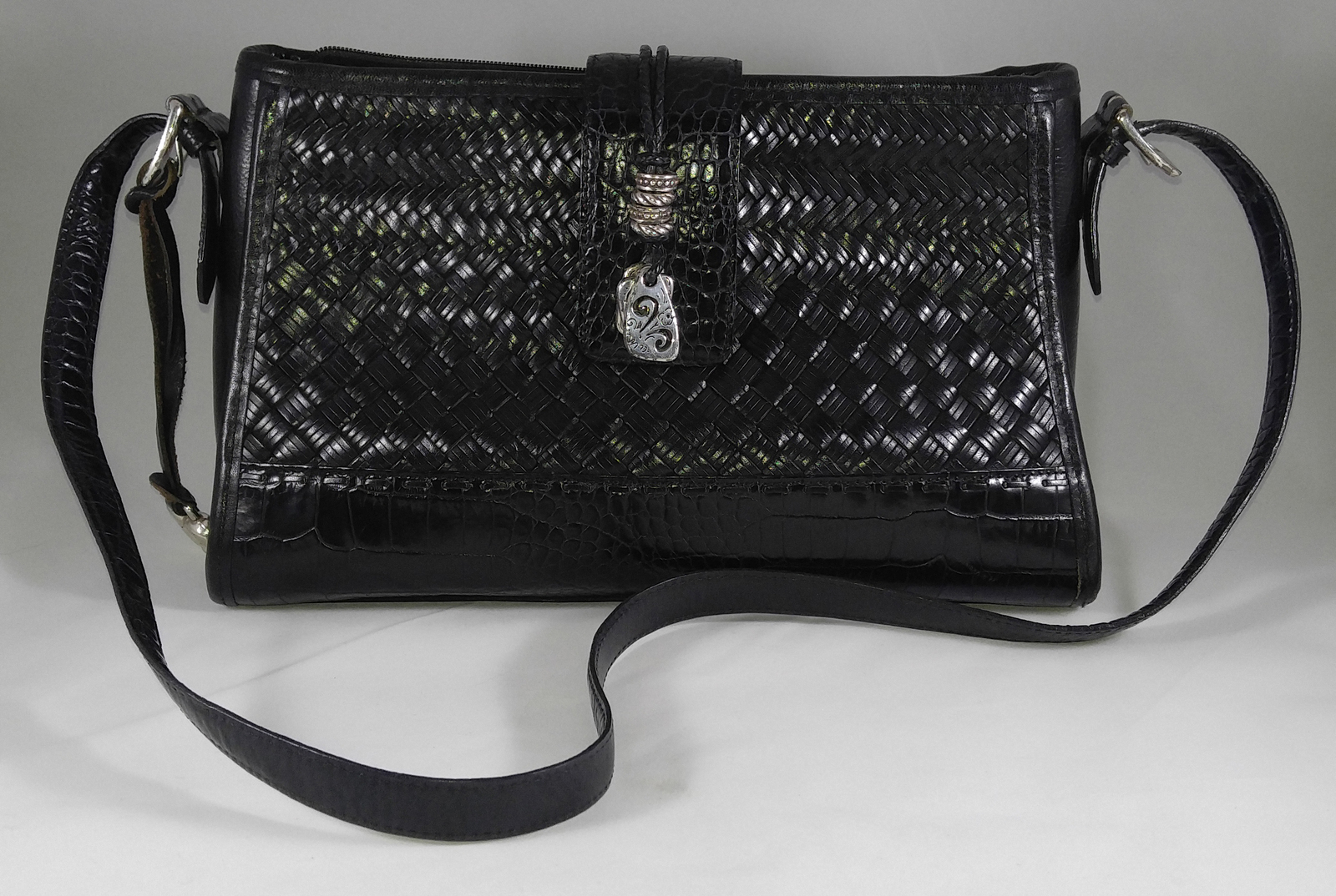 896a5359e27d Brighton Black Leather Weave Heart Charms Flap Cross Body Handbag Purse -  $79.99