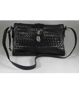 Brighton Black Leather Weave Heart Charms Flap Cross Body Handbag Purse - $79.99