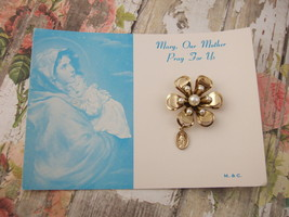 Vintage Catholic Miraculous Medal Brooch Lapel pin NOS w/ orginal picture card - $16.82