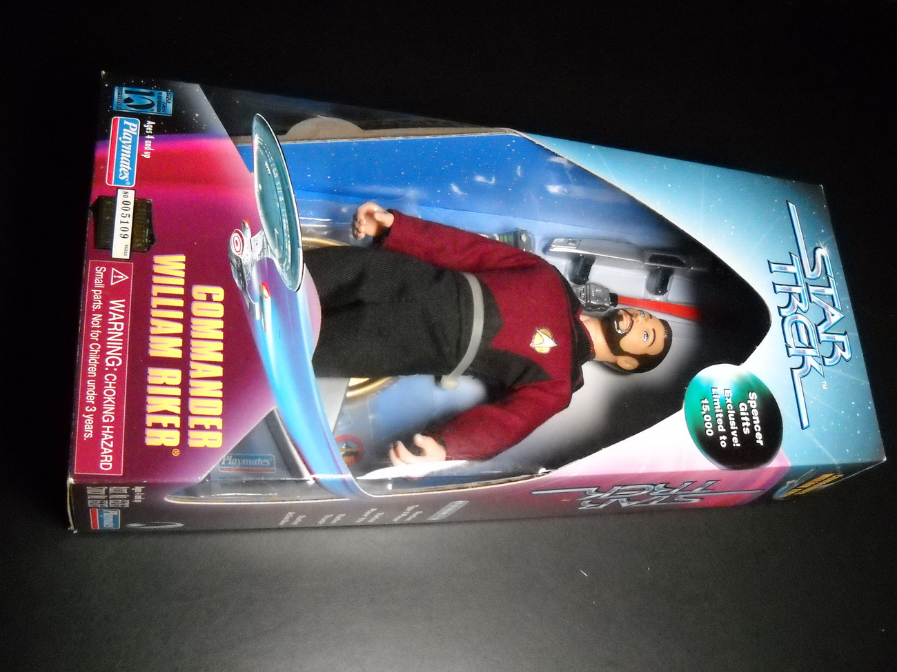 Toy star trek playmates spencer gifts exclusive commander william riker 1997 9 inch boxed sealed 01