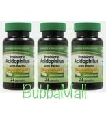 3 Bottles Nature's Measure Probiotic Acidophilus W/ Pectin 72 Capsules - $13.85
