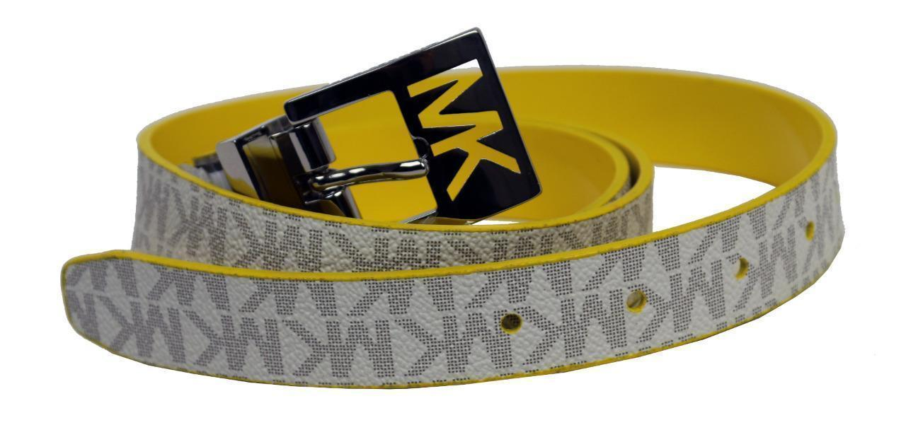 Michael Kors MK Women's Premium Logo Reverisble Belt White & Yellow 552501