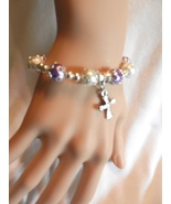 New Religious Cross Crucifix Stretch Pearl Beaded Charm Bracelet - $4.99