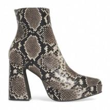 Jeffrey Campbell Dormant Brown White Snakeskin Print Boots Block Heel Sz 9 NIB - $108.89