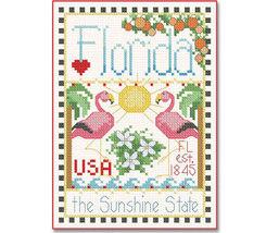 Florida Little State Sampler cross stitch chart Alma Lynne Originals - $6.50
