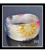 Colorful Flowers White Lucite Bangle Bracelet - $12.00
