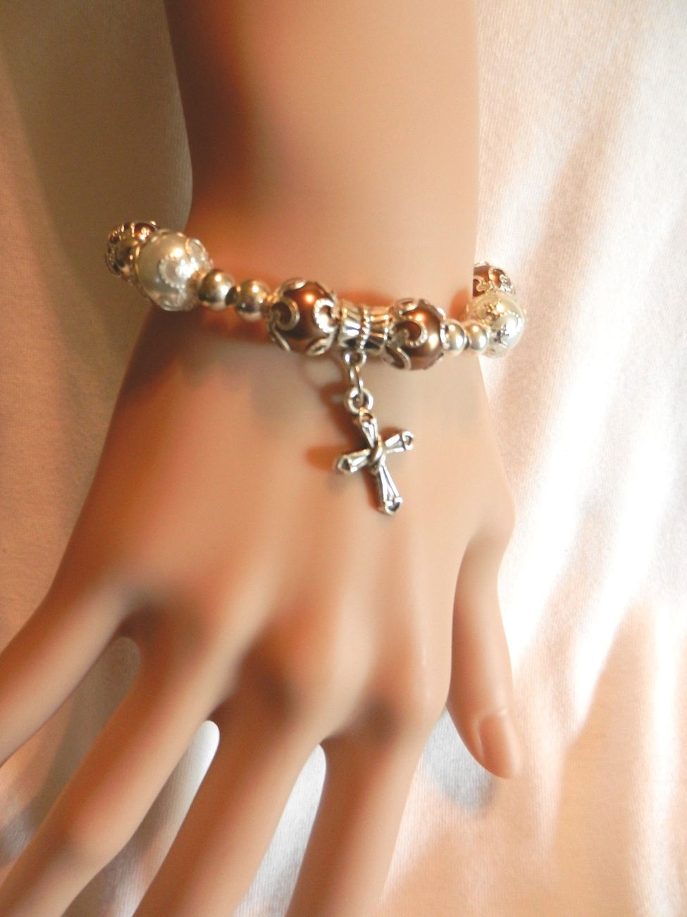 Primary image for New  Cross Jewelry, Crusifix Bracelet, Stretch Bracelet, Christian , Catholic