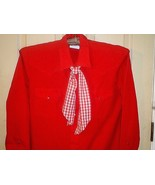 M92 KARMAN GOLD COLLECTION red western shirt + red/white gingham tie M=1... - $18.80