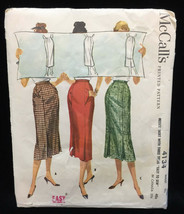 "Skirt Sewing Pattern Waist 30"" Misses Womens Calf Length # 4134 McCalls Vintage - $6.92"